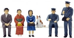 The Human 80 HO Scale Figure: People and Cat at Station Nekoya