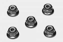 RC Anodized Flange Lock Nuts - 4mm(Red 5pcs)
