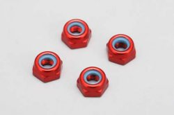 3 mm Aluminum Lock Nut (Thin / Red / 4pcs)