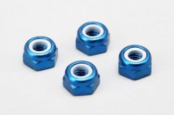 3mm Aluminum Lock Nut (Thin / Blue / 4pcs)