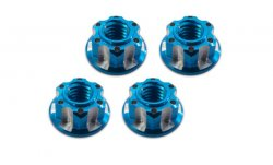 STR142B Machined 4mm Wheel Lock Nut (Blue/4pcs)