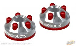 STR241R 5 Hole Wheel Nuts Silver & Red 2pcs