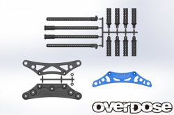 OD1702 Aluminum Bumper Support & Body Post Set for Yokomo Blue